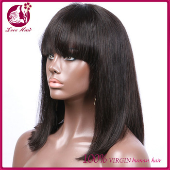 100 human lace front indian remy women hair bob wig with bang for black  women 9577a608c5