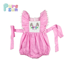 Woven Cotton Pink color bunny applique baby girls clothes bubble romper for easter days