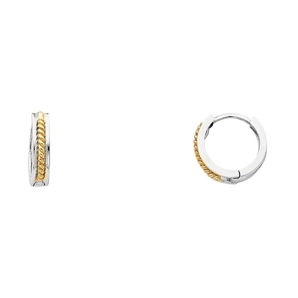 Solid 14k Yellow White Gold Twisted Rope Huggie Hoops Square Tube Round Huggies Genuine 11 x 2.5 mm