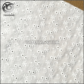100% organic cotton eyelet embroidery fabric in good quality