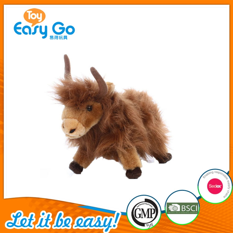 Wholesale Farm animal long Fur Brown Plush Cattle toy