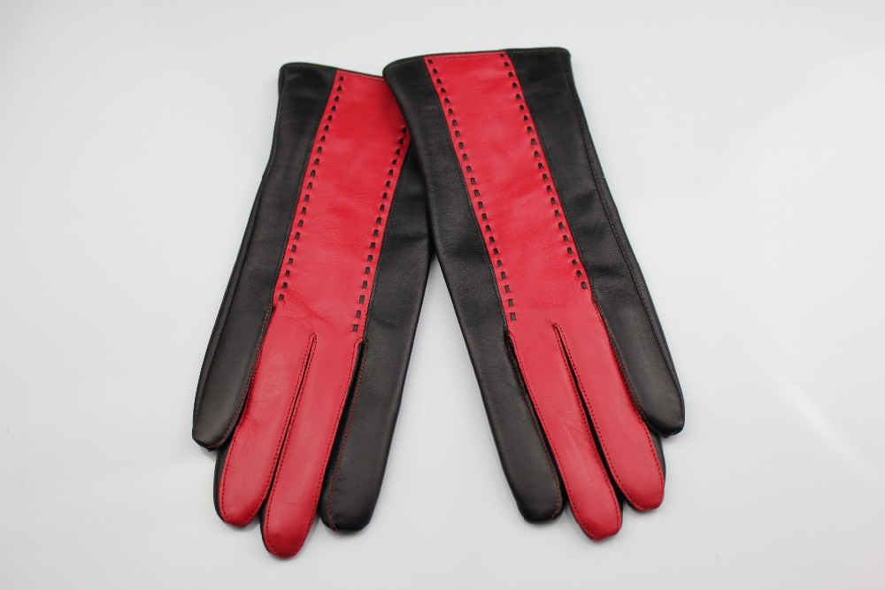 Ladies black combined red leather gloves made in China