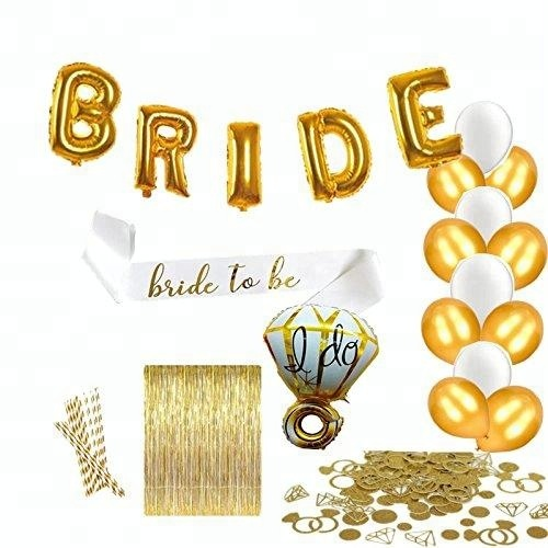 Sash IK DOEN folie Latex Ballonnen Goud Fringe Gordijn en Ring Confetti, Bachelorette Party Decoraties Bruids Douche Kit levert