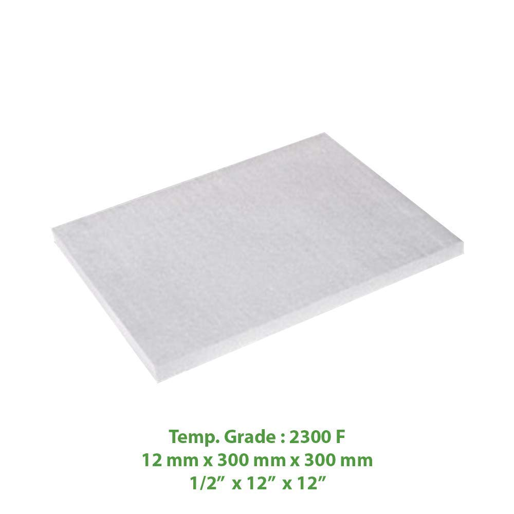 "Ceramic Fiber Insulation Board 2300 F 0.47"" X 12"" X 12"" for Thermal Insulation in Wood Stoves, Fireplaces, Pizza Ovens, Kilns, Forges & More."