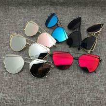 2016 New Cat Eye Aviator Sunglasses Women Vintage Fashion Metal Frame Mirror Sun Glasses Unique Flat Ladies Sunglasses UV400