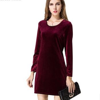 2017 Korean ladies dress women lady spring/autumn velvet long sleeve dresses
