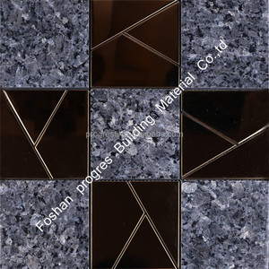 Norway import Granite Shining Spot Crack Ceramic Mosaic Tiles luxury glass mosaic For Wall Tiles