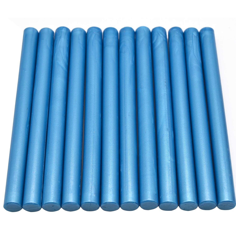 Light Blue Flexible Glue Gun Sealing Wax Stick for Vintage Wax Seal Stamp - 12 Sticks