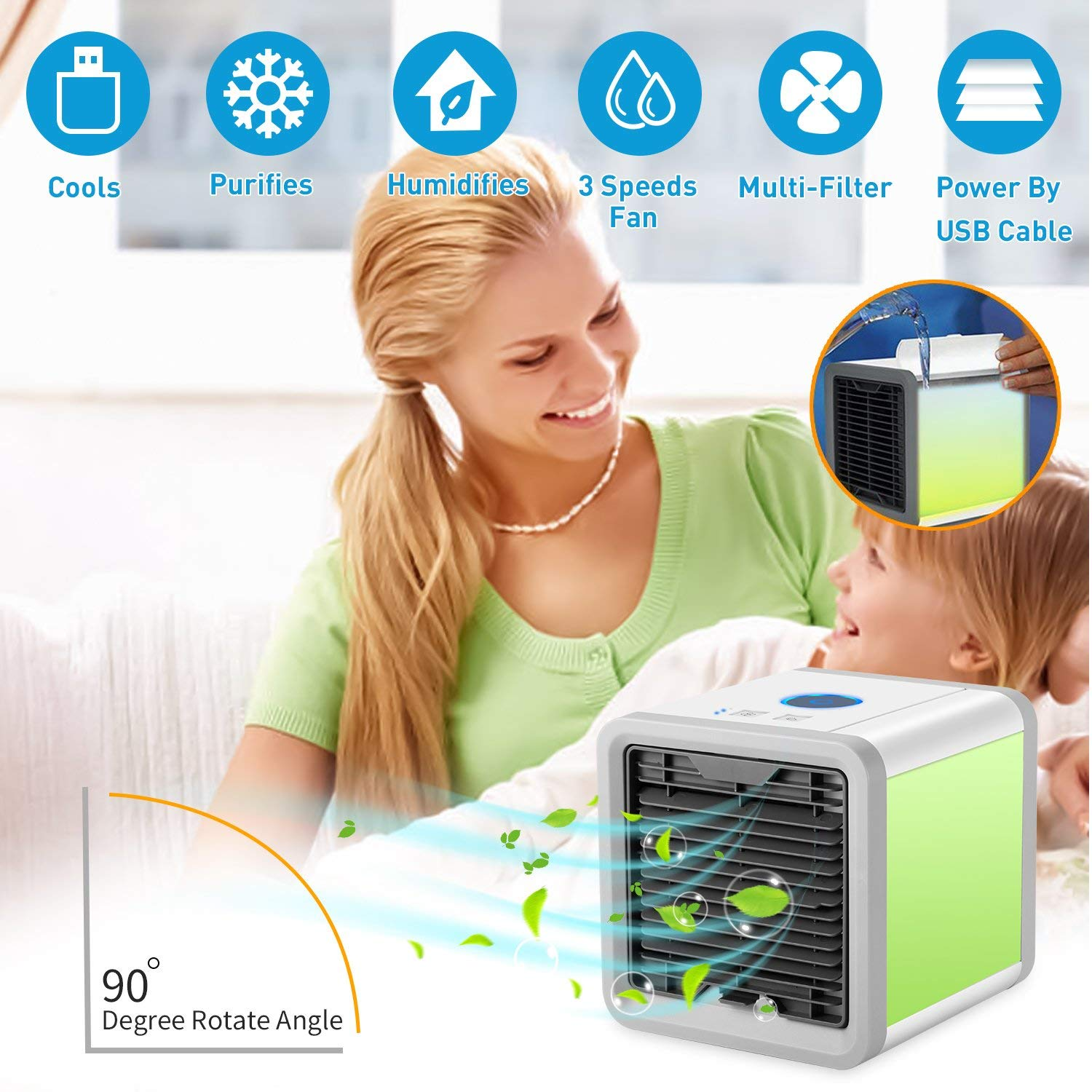 Fitfirst Portable Air Conditioner Cooler, Desk Cooling Fan, 4 in 1 Personal Space Air Cooler, Humidifier, Purifier 7 Colors Night Light, Support 3 Cooling Speeds, USB Charge Home Outdoor