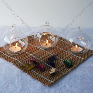 Romantic hanging crystal glass candle holder fine wedding dinner decoration home wedding favor blown