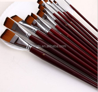Art supplies brush for acrylic oil painting,12 piece paint brushes set with brown wood handle