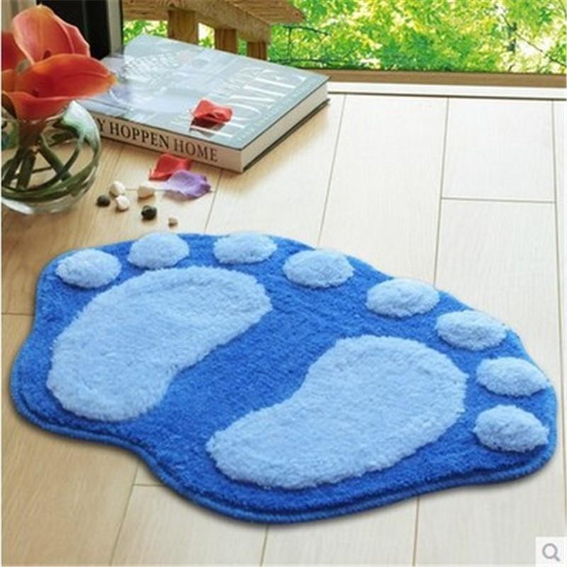 Cute feet flocking carpet mats absorbent non-slip bath mats doormat into 5  color options - us342 2e49ce9b05fe
