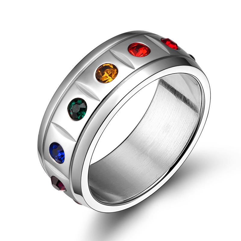 Whole Rainbow Pride Jewelry Stainless Steel Crystal Wedding Rings For Women And Men In Price On M Alibaba
