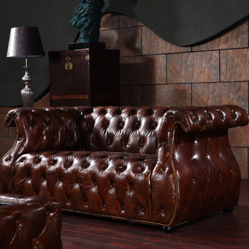American Vintage Leather Sofa Sets With Leather Coffee Table
