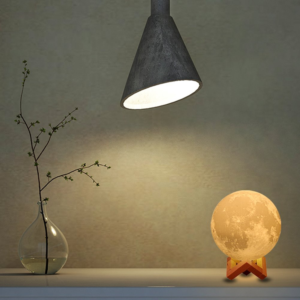"7.1"" Large Moon Light, AMZLIFE 3D Printing Moon Lamp with Touch Sensor Switch and Dimmable Brightness 2 Colors LED, USB Recharge"