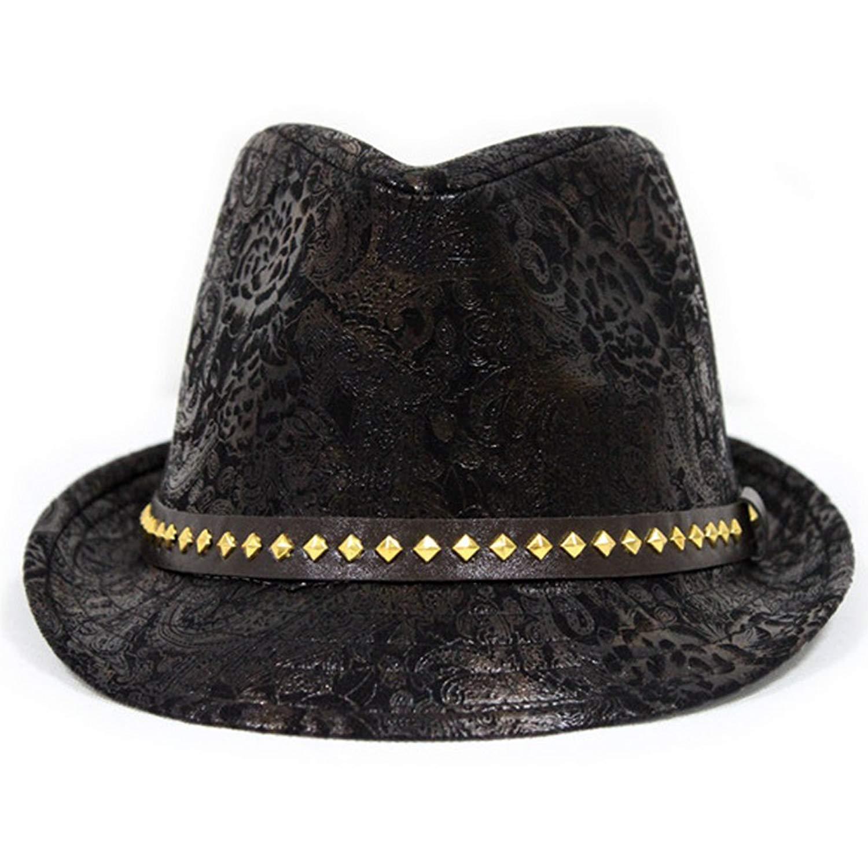 0dacf1c8b4b Get Quotations · LOCOMO Paisley PU Leather Fedora Short Upturn Brim Hat Cap  Cuban FFH247BRN