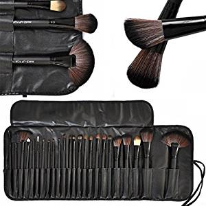 KLAREN Professional Cosmetic Brush Set -24 Piece Makeup Brush Set with Premium Synthetic Hair,Pro Wooden Handle Cosmetic Makeup Brush kit set