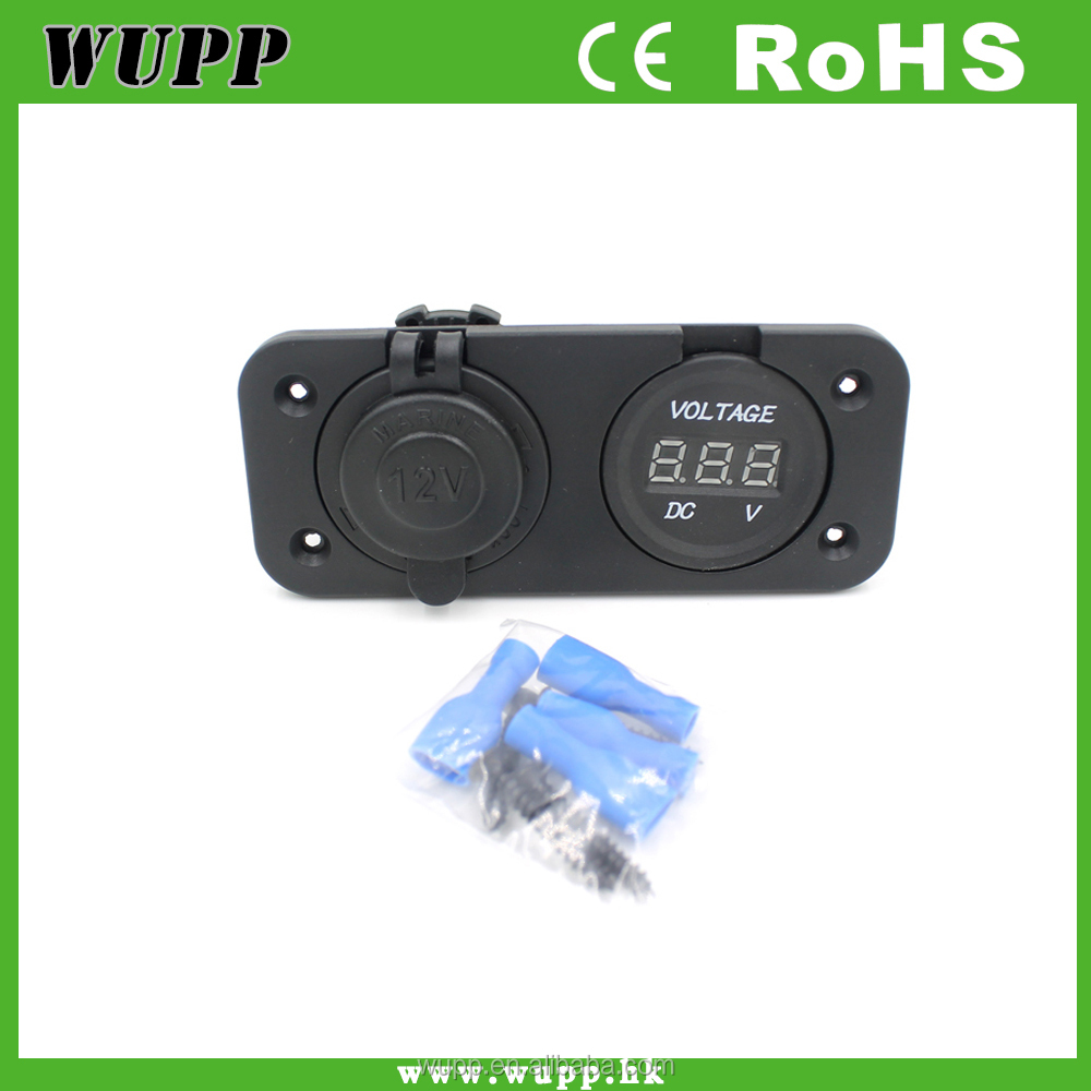 Motorcycle 12V cigarette socket plug with voltmeter