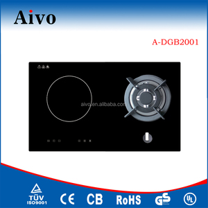 Built in 2 Burner Crystal Induction Cooktop Hob with Gas Cooker/IHand gas hob