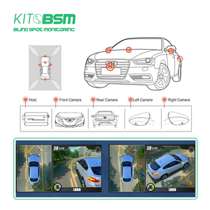 KIT BSM 3D HD 360 Car Surround View Monitoring System Night Vision Birdview 4 Camera HD 1080P Recorder DVR Parking Monitoring