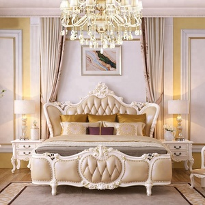 Luxury French classic romantic white classic solid wood bedroom with leather headboard