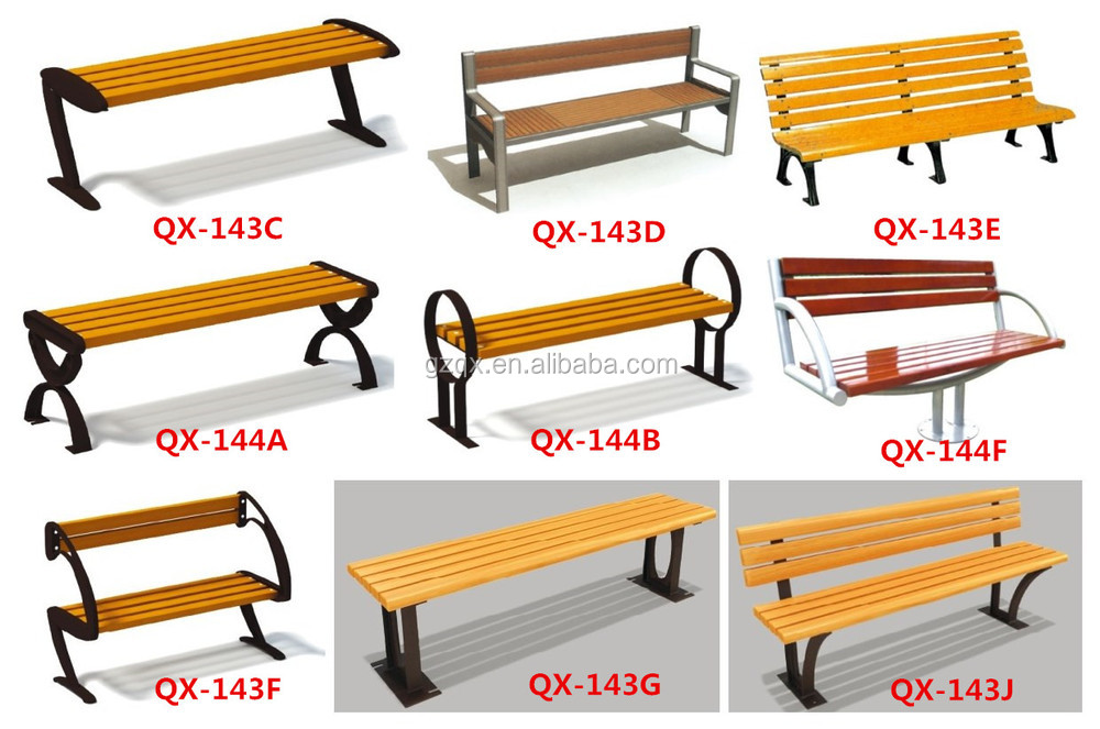 Fine Design Wood Park Bench Antique Cast Iron Outdoor Waiting Benches Qx