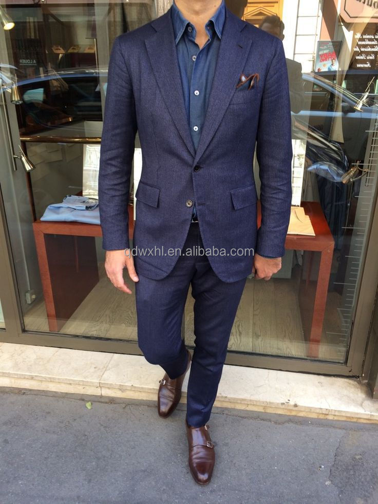 High Class Western Style Men's Suits Dark Blue Tailored Suits Men ...