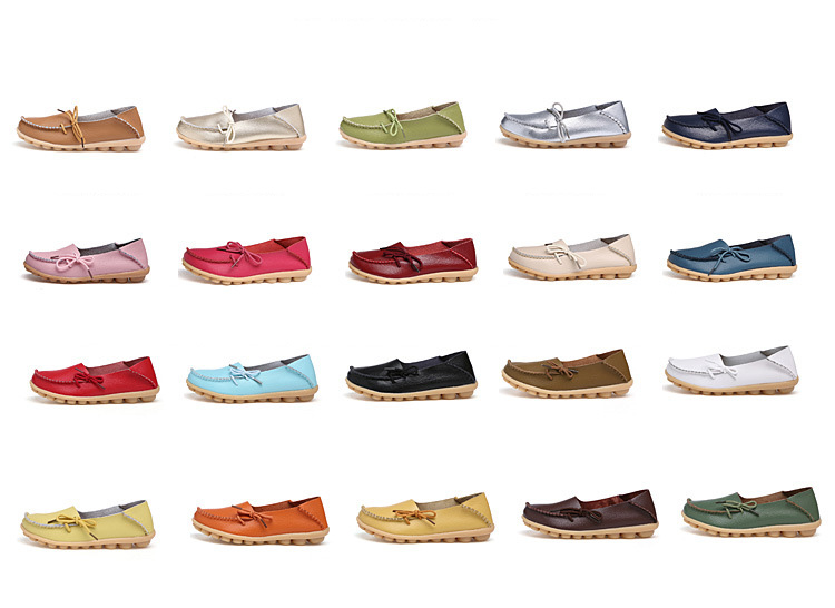 6c2f33c6544 Fashion brand best show Womens Leather Loafers Flats Casual Round Toe  Moccasins Wild Breathable Driving Shoes ...
