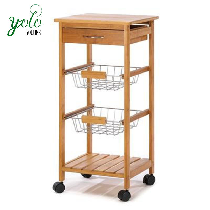 Kitchen Bamboo Wood Food Service Carts Trolley Rolling Steel Cart