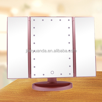 Girl Beauty Led Lighted Tri Fold Makeup Mirror Table Mirror For