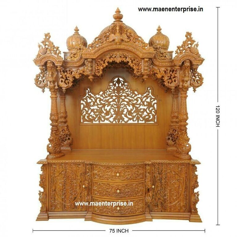 Big Wooden Temple Design For Home Decoration Mandir
