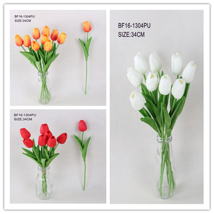 PU real touch material artificial tulip single stem flower