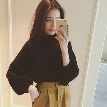 Wa4278 Hot Selling Half Turtleneck Lady Hubble Bubble Sleeve Knit