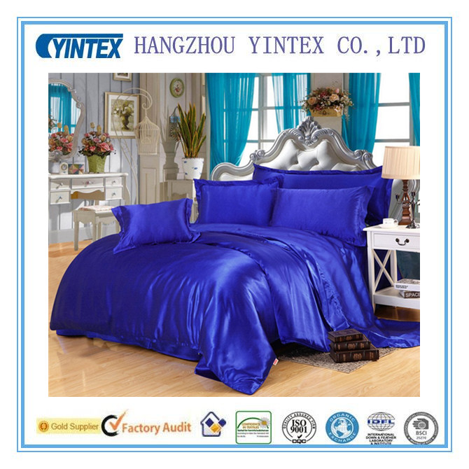 Royal Blue 100% Silk 4-Piece Bedding Set Duvet Cover Silk Pillowcase Silk Sheet Luxury Bedding, King ,