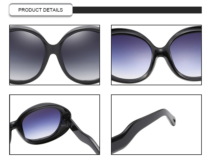 Ready Stock Round Polarized Retro Oversized Big Frame Women Sunglasses