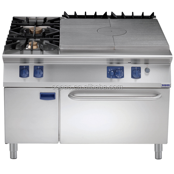 Sopas Peralatan Dapur 900 Seri Top Padat Oven Gas Dengan 2 Pembakar