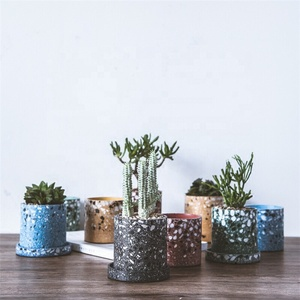 Cylinder shape home decoration ceramic succulent plant pot / terrazzo planter for wedding