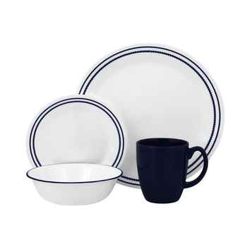 Japanese simple style blue rim ceramic like dinnerware set