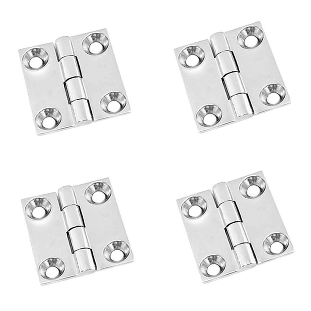 """Dovewill 4 Pieces 1.5"""" Polished 316 Stainless Steel Marine Boat Door Butt Hinge DIY Install"""