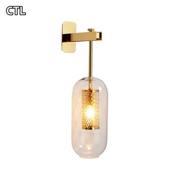 2019 new golden custom wall sconces European style warm bedside lamp hotel decorative modern glass wall lamp