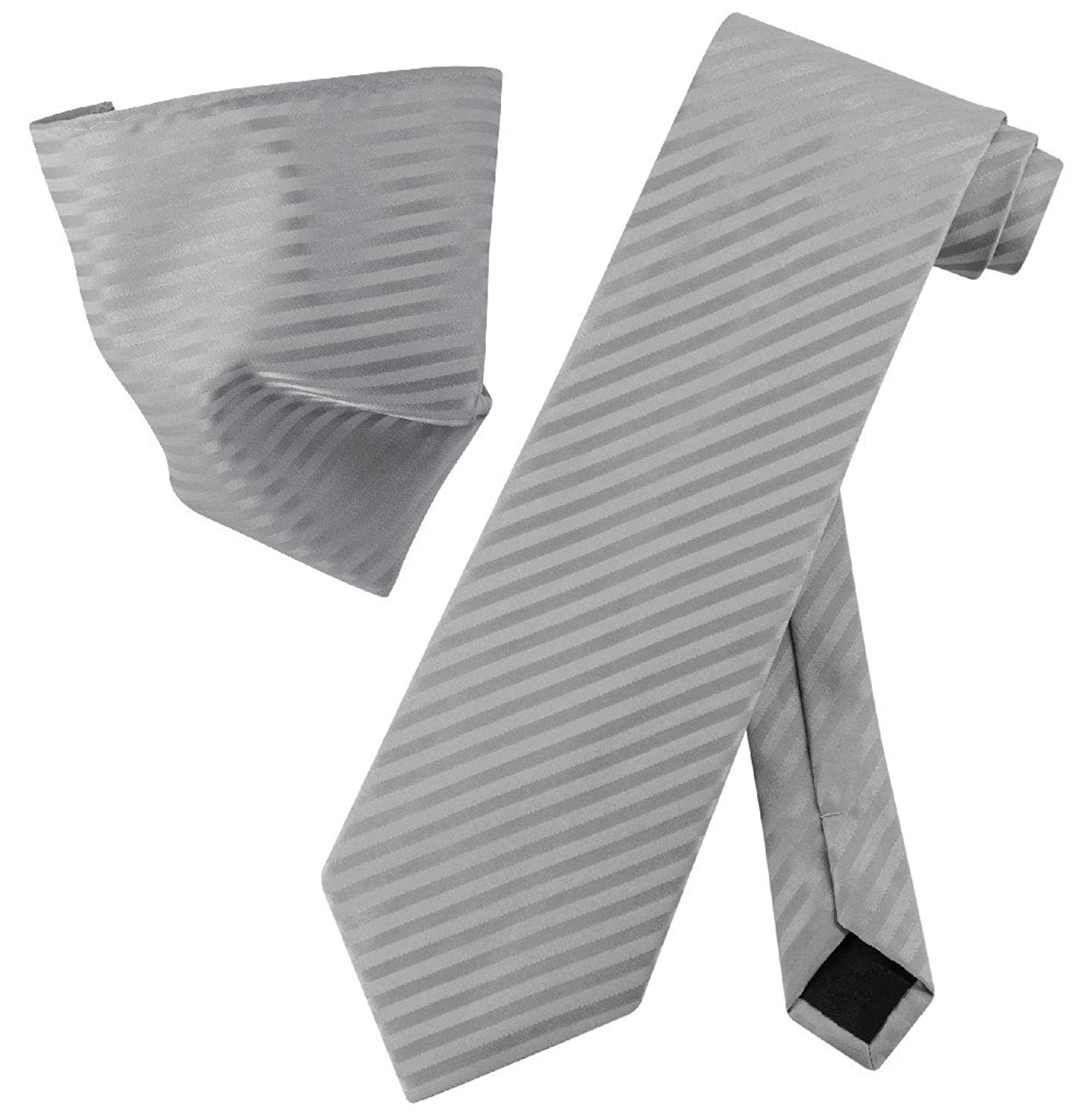 Vesuvio Napoli SILVER GREY Striped NeckTie & Handkerchief Matching Neck Tie Set