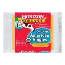 WhiteWave Horizon Organic American Singles Cheese Slice, 8 Ounce -- 12 per case.