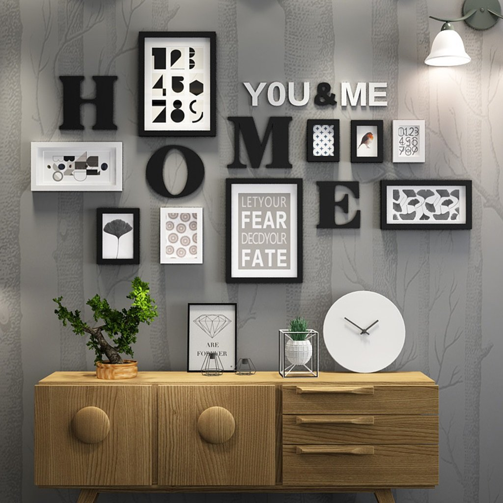 color : Black and White Photo Frame Collage Solid Wood Combination Living Room Photo Frame Wall Creative Restaurant Background Wall Decoration