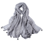 Wholesale 2019 hot sale creams scarf high quality 7colors new fabric plain tie-dye tassel long women malaysian hijab