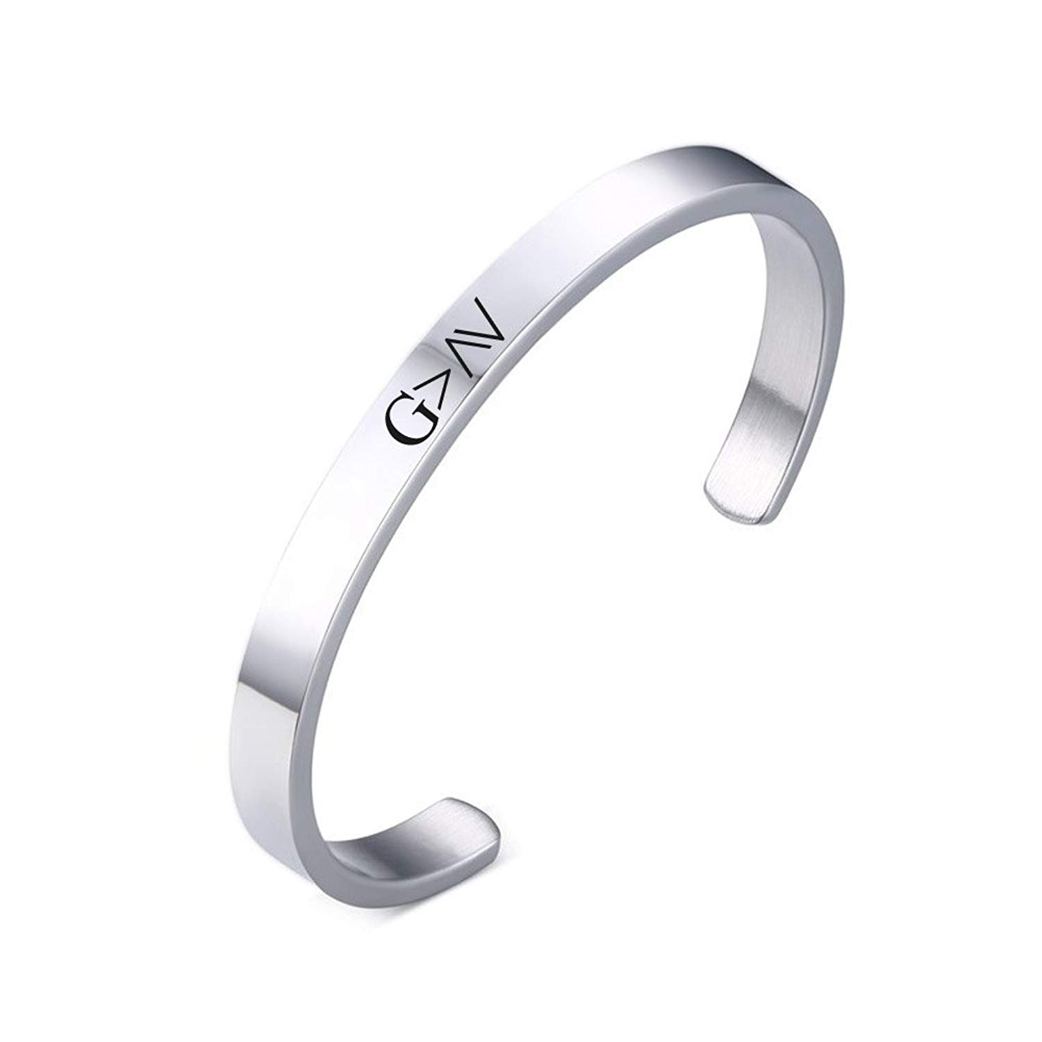 LiFashion LF Stainless Steel God is Greater Than the Highs and Lows Open Cuff Bracelet Bangle Catholic Christian Jewelry for Women Girls Silver
