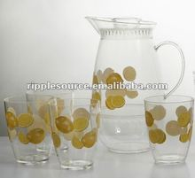 Large Clear Plastic Cool Water Pitcher and Cups