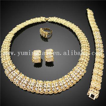 Dubai Gold Plated Jewelry SetFashion Earring RingDiamond Jewelry