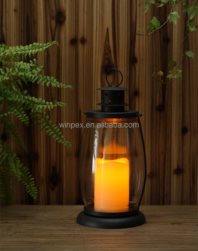 "Rustic Style 12"" Glass And Metal Lantern With 3""x4"" Single LED Resin Candle Installed"