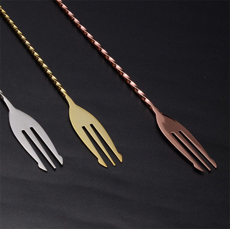 Long handle spoon stainless steel cocktail stirrer spoon and fork