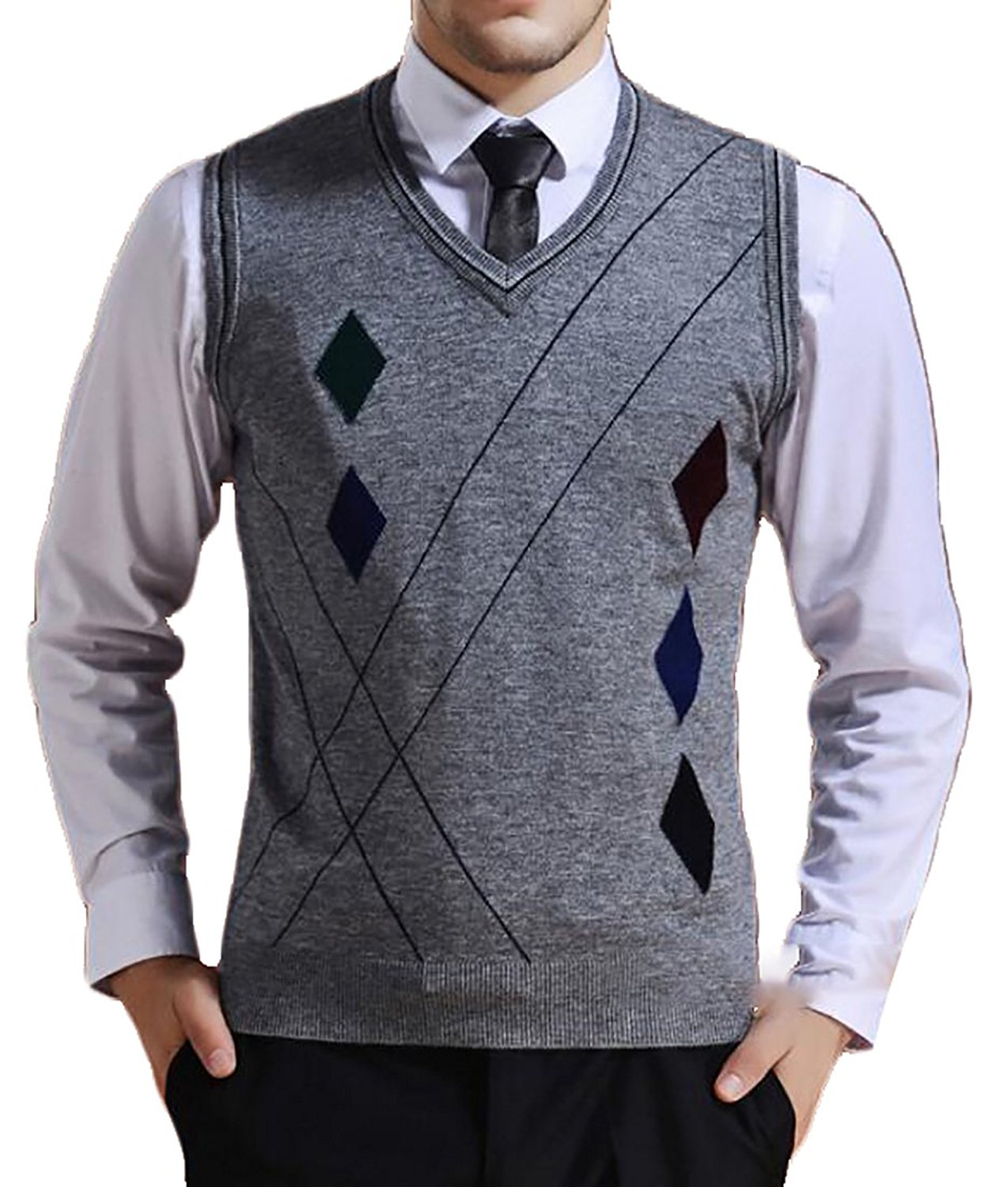 99f8f318f8e23 Get Quotations · ARRIVE GUIDE Mens Business Argyle Pattern Knitted V-Neck  Sweater Vest Gray XS